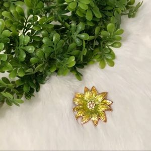 Vintage Yellow Green Flower Brooch
